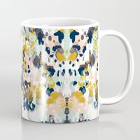 navy Mugs featuring Sloane - Abstract painting in modern fresh colors navy, mint, blush, cream, white, and gold by CharlotteWinter