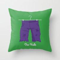 hulk Throw Pillows featuring Hulk by Jane Mathieu