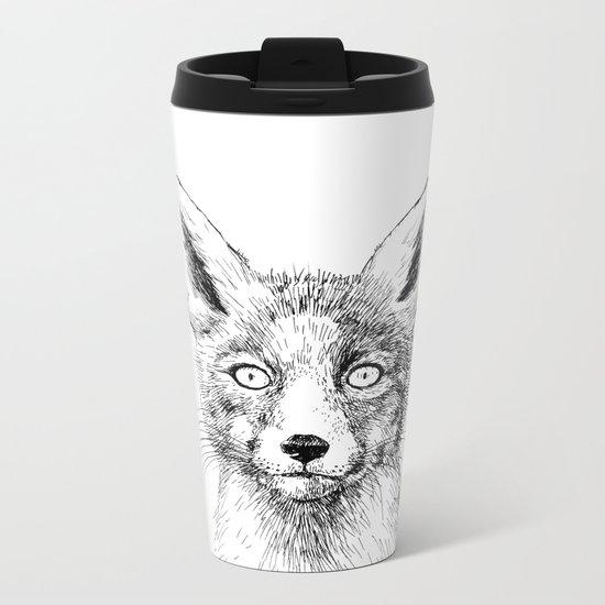 Fox portrait, ink drawing Metal Travel Mug