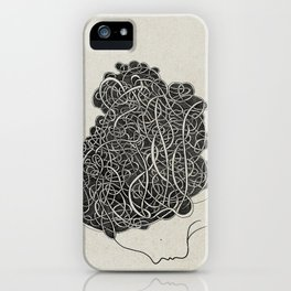 Amanda with curly grey hair iPhone Case