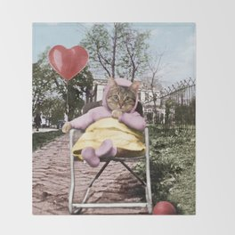 A pretty, little kitty with a heart-shaped balloon Throw Blanket