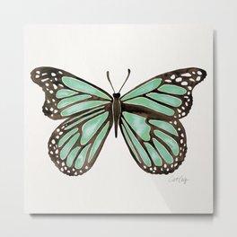 Mint Butterfly Metal Print