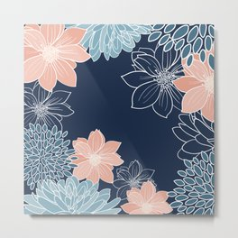 Floral Prints and Line Art, Navy Blue, Coral and Teal Metal Print