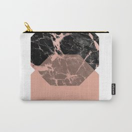 Geometric - Hexagon, Black Marble Rose Gold 2 Carry-All Pouch