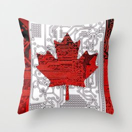 circuit board Canada (Flag) Throw Pillow