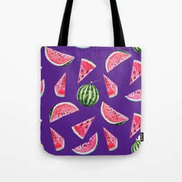 Watermelon Pattern with Purple Background Tote Bag