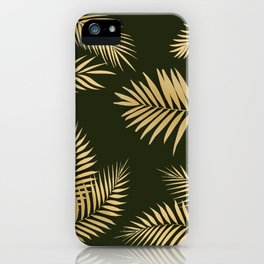 Golden and Green Palm Leaves iPhone Case