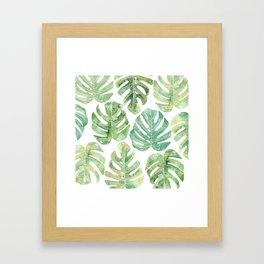Monstera leaves Jungle leaves Palm leaves Tropical Framed Art Print