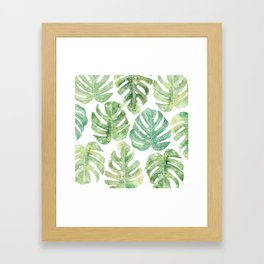 Monstera leaves Jungle leaves Palm leaves Tropical Framed Art Print