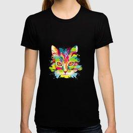 Cat Head Rainbow Polygon Art, Cute Kitty Tee for Pet Lovers  T-shirt