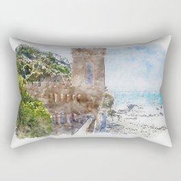 Aquarelle sketch art. Castle near beautiful azure sea and the rocky beach, Tyrrhenian sea in Tuscany, Italy Rectangular Pillow