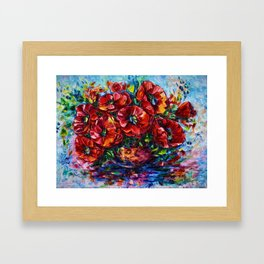 Red Poppies In A Vase Framed Art Print