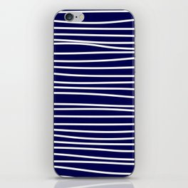 Navy Blue & White Maritime Hand Drawn Stripes- Mix & Match with Simplicity of Life iPhone Skin
