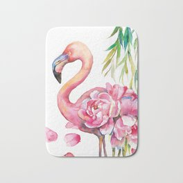Pink Flamingо with Peony Wings Bath Mat