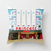 theater Throw Pillows featuring Princess Theater by Tiffany Dawn Smith