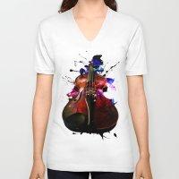 violin V-neck T-shirts featuring violin nebula by seb mcnulty