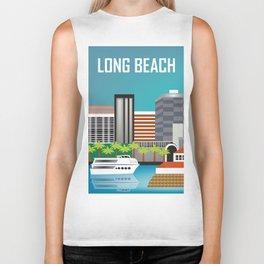 Long Beach, California - Skyline Illustration by Loose Petals Biker Tank