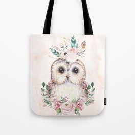 Forest Owl Floral Pink by Nature Magick Tote Bag