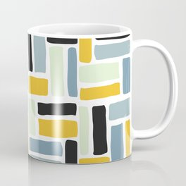 Abstract yellow black geometric modern brushstrokes  pattern Coffee Mug