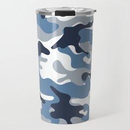 Blue and White Camo Travel Mug