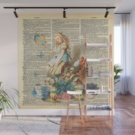 Vintage Alice In Wonderland on a Dictionary Page Wall Mural