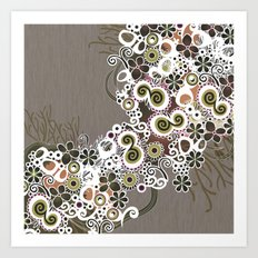 Diagonal flower – brown and olive green fiber Art Print