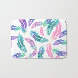 Pastel pink turquoise hand painted watercolor feathers pattern Bath Mat
