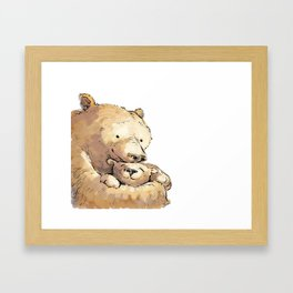 Bear Snuggle Framed Art Print