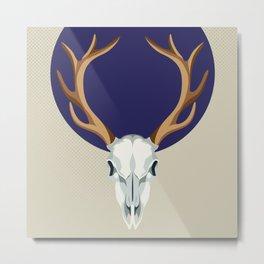 Crowned blue deer skull Metal Print