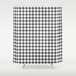 Small Diamonds - White and Dark Gray Shower Curtain