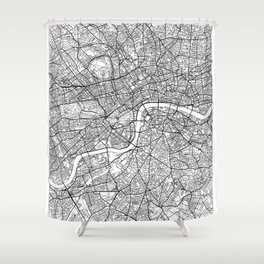 London Map White Shower Curtain