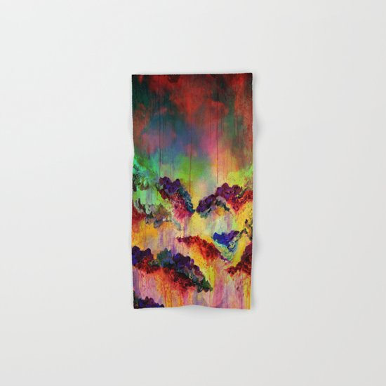 IT'S A ROSE COLORED LIFE 4 - Deep Red Colorful Floral Garden Abstract Crimson Green Painting Hand & Bath Towel