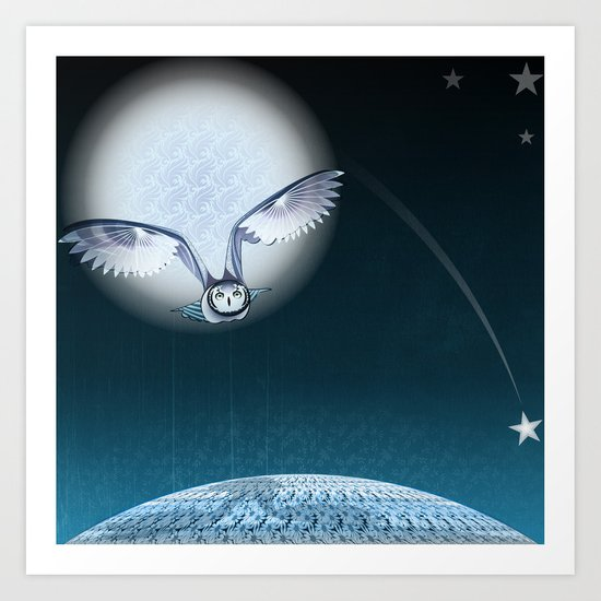 Flying over Daisies land Art Print