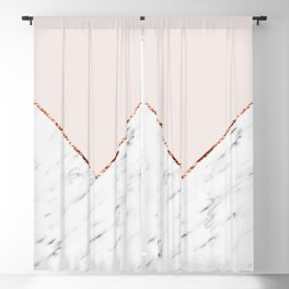 Peony blush geometric marble Blackout Curtain