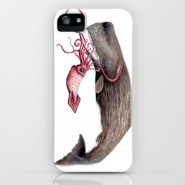 Epic battle between the sperm whale and the giant squid iPhone Case