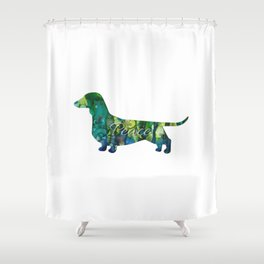 Peace Doggy Doxie In Seafoam Green Shower Curtain