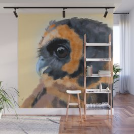 Brown-Blue Wood Owl Portrait Wall Mural