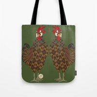 chicken Tote Bags featuring Chicken by ArtLovePassion