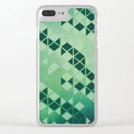 Forest Green -  Geometric Triangle Pattern Clear iPhone Case