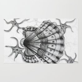 Dystopian Cockle - Black & White Rug
