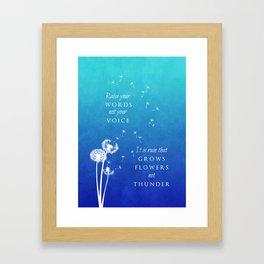 Raise your words Framed Art Print