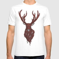 The Stag MEDIUM White Mens Fitted Tee