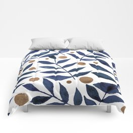 Watercolor berries and branches - indigo and beige Comforters