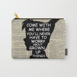 Peter Pan Over Vintage Dictionary Page - Grown Up Things Carry-All Pouch