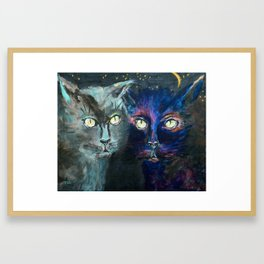 They Meet in the Night (Cats) Framed Art Print