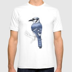 Blue Jay White Mens Fitted Tee MEDIUM
