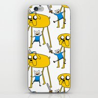 finn and jake iPhone & iPod Skins featuring Adventure Time - Jake & Finn by www.Lusy.ink