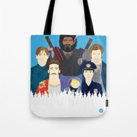 movies Tote Bags featuring Finding Junior (Faces & Movies) by Alain Bossuyt