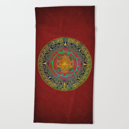 Aztec Sun God Beach Towel