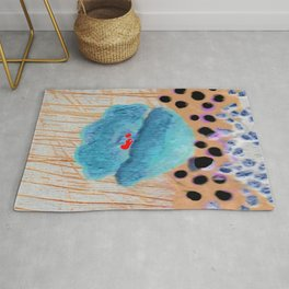 Blue poppy and rivers Rug